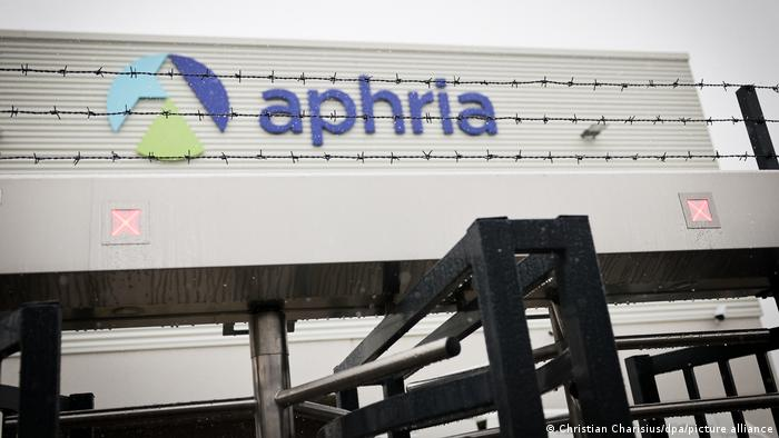 A picture showing Aphria's indoor cultivation facility in Neumünster, fenced off with barbed wire