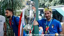 EURO2020 | Italiens Fussballnationalmannschaft nach EM Sieg zurück in Rom