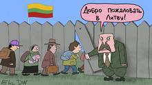 Karikatur von Sergey Elkin. Präsident von Belarus Alexandr Lukaschenko ermöglicht illegale Migrantenströme nach Litauen. Der belarussische Präsident A. Lukaschenko öffnet ein Loch im Grenzzaun für Migranten/Flüchtlinge und sagt: Herzlich willkommen in Litauen!