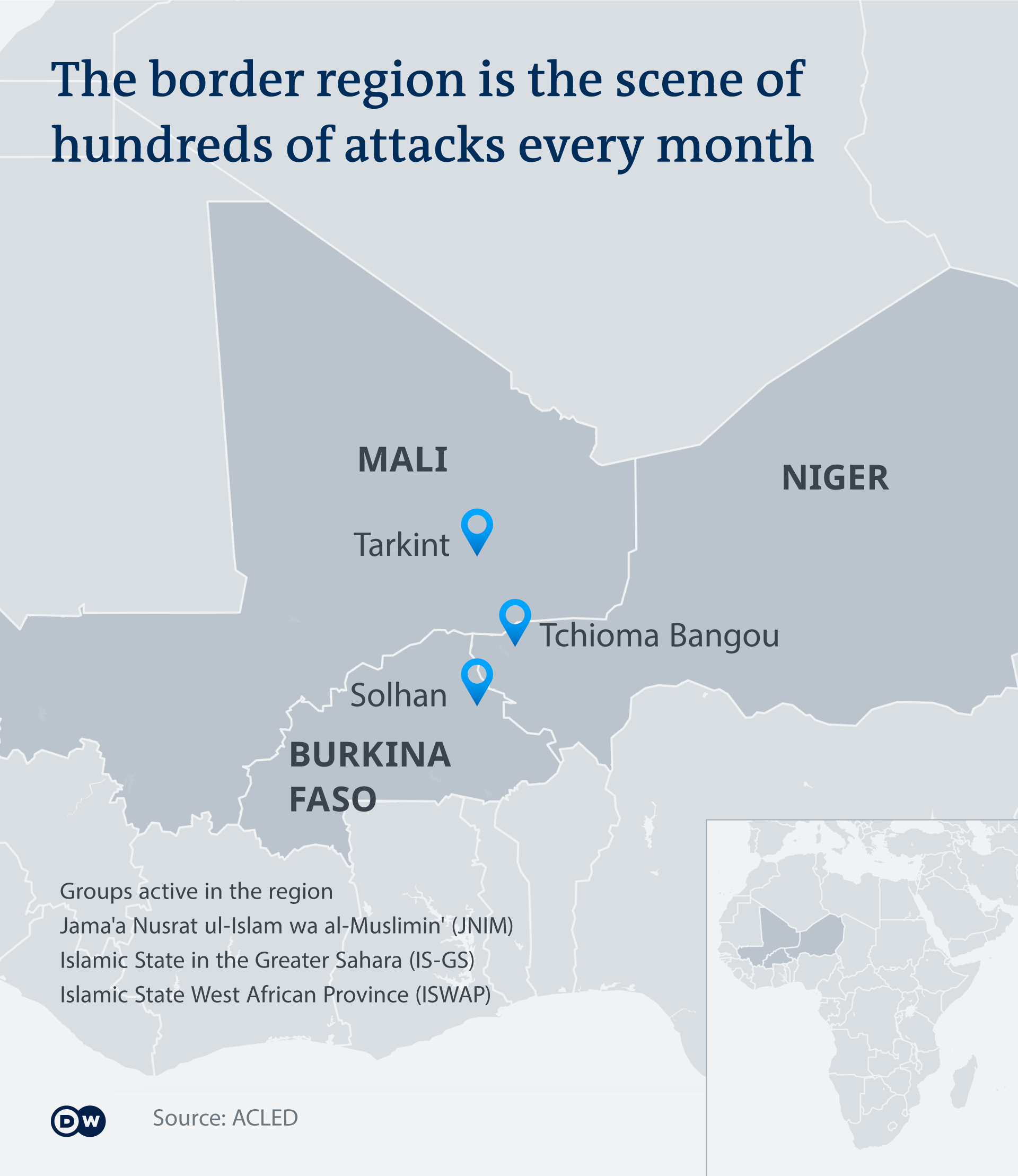Map showing the Burkina Faso, Mali and Niger where Islamist groups have been carrying out deadly attacks in recent years