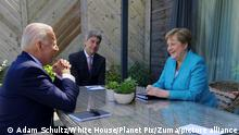 STYLELOCATIONU.S President Joe Biden during a bilateral meeting with German Chancellor Angela Merkel, right, on the sidelines at the G7 Summit at the Carbis Bay Hotel, June 12, 2021 in Carbis Bay, Cornwall, United Kingdom. (Credit Image: © Adam Schultz/White House/Planet Pix via ZUMA Wire