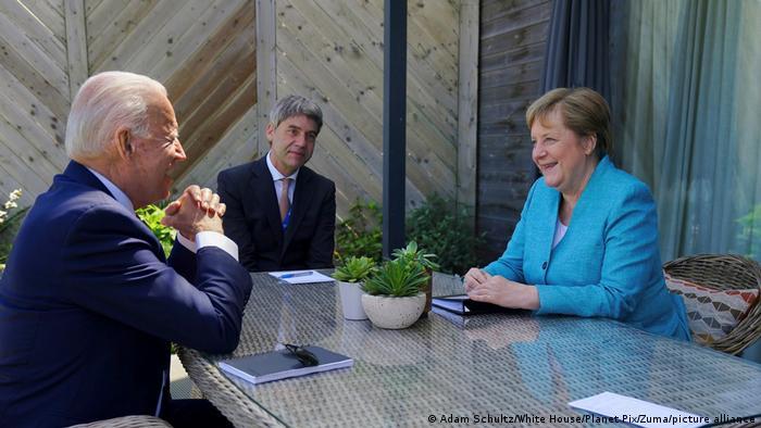 Joe Biden and Angela Merkel at their G7 meeting in Cornwall, UK