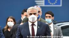 BRUSSELS, BELGIUM - JULY 12: Isreali Foreign Minister Yair Lapid arrives to attend EU Foreign Ministers' meeting in Brussels, Belgium on July 12, 2021. European Council / Pool / Anadolu Agency