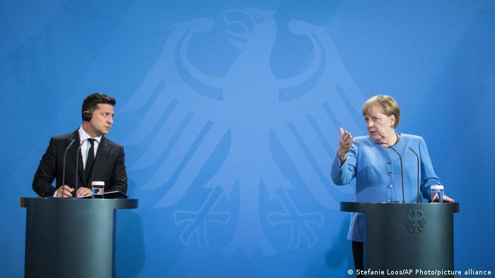 Владимир Зеленский и Ангела Меркель в Берлине в июле 2021 года