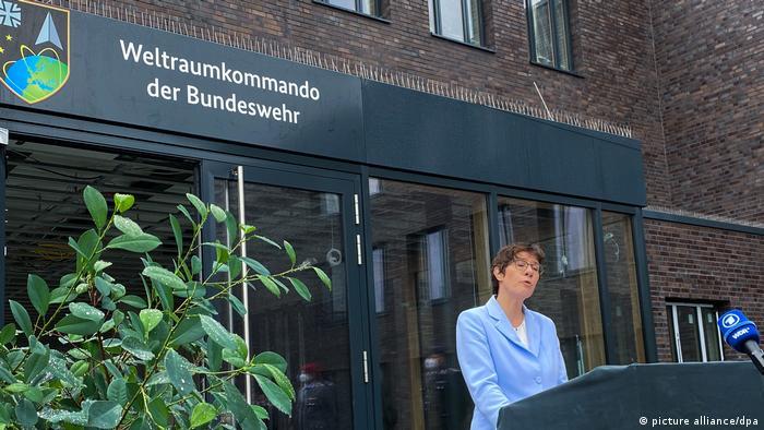German Defense Minister Annegret Kramp-Karrenbauer speaking at the command center