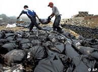 大连新港岸边的清污人员身着便装,几乎没有采取任何自我保护措施