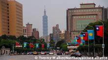 A view of the Taipei 101 outside the Presidential Office Building, Taipei, Taiwan, 27th March 2021 (Photo by Tommy Walker/NurPhoto)