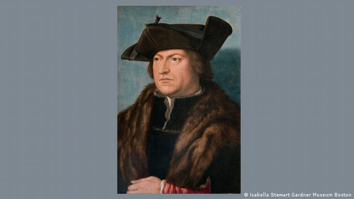 A painting of a man wearing a black hat and a fur coat