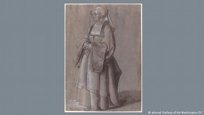 A copper engraving of a young woman wearing a white hood and an elaborate dress