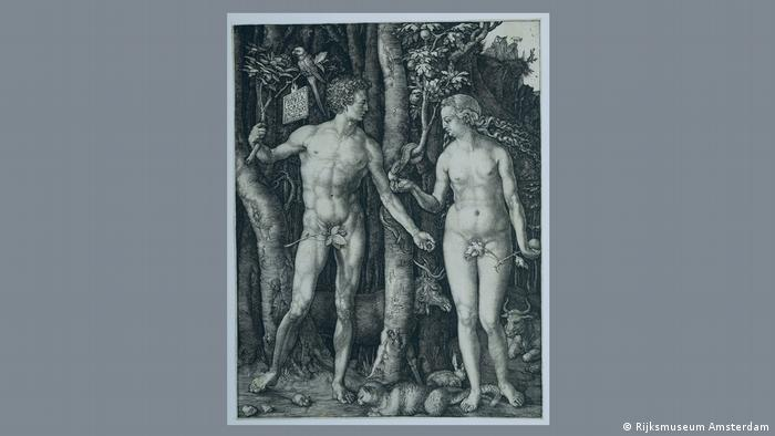 An engraving of Adam and Eve by Dürer. They are standing to the right and left of a tree. Eve offers Adam the apple
