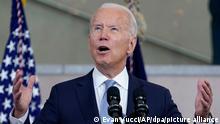13.07.2021, USA, Philadelphia: Joe Biden, Präsident der USA, hält eine Rede über das Wahlrecht im National Constitution Center. Foto: Evan Vucci/AP/dpa +++ dpa-Bildfunk +++