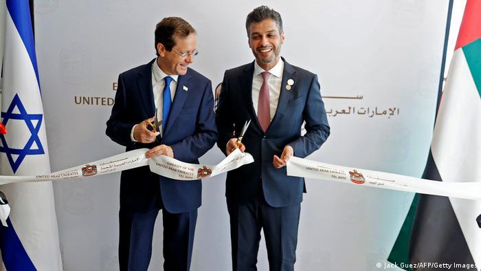 Smiling diplomats open the UAE embassy in Tel Aviv