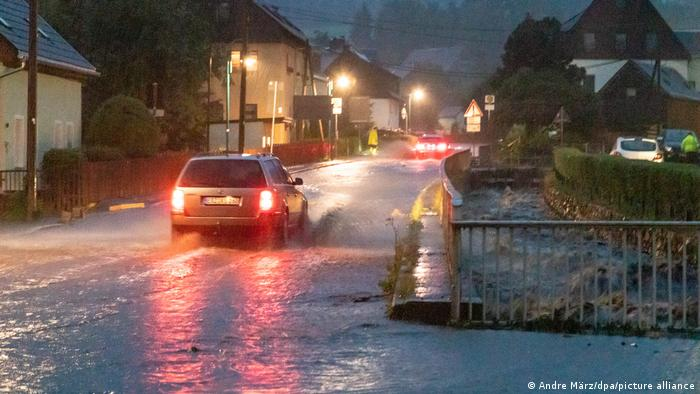Heavy rain in the German town of Jöhstadt on July 13