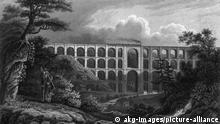 Mylau, Goeltzschtalbruecke / J.Poppel Mylau (Sachsen), Goeltzschtalbruecke (Eisenbahnviadukt der Linie Leipzig- Hof; erbaut 1845-51). - The Goeltzsch-Thal-Viaduct. - Stahlstich, 1851, von Johann Poppel (1807-1882). Berlin, Slg.Archiv f.Kunst & Geschichte.