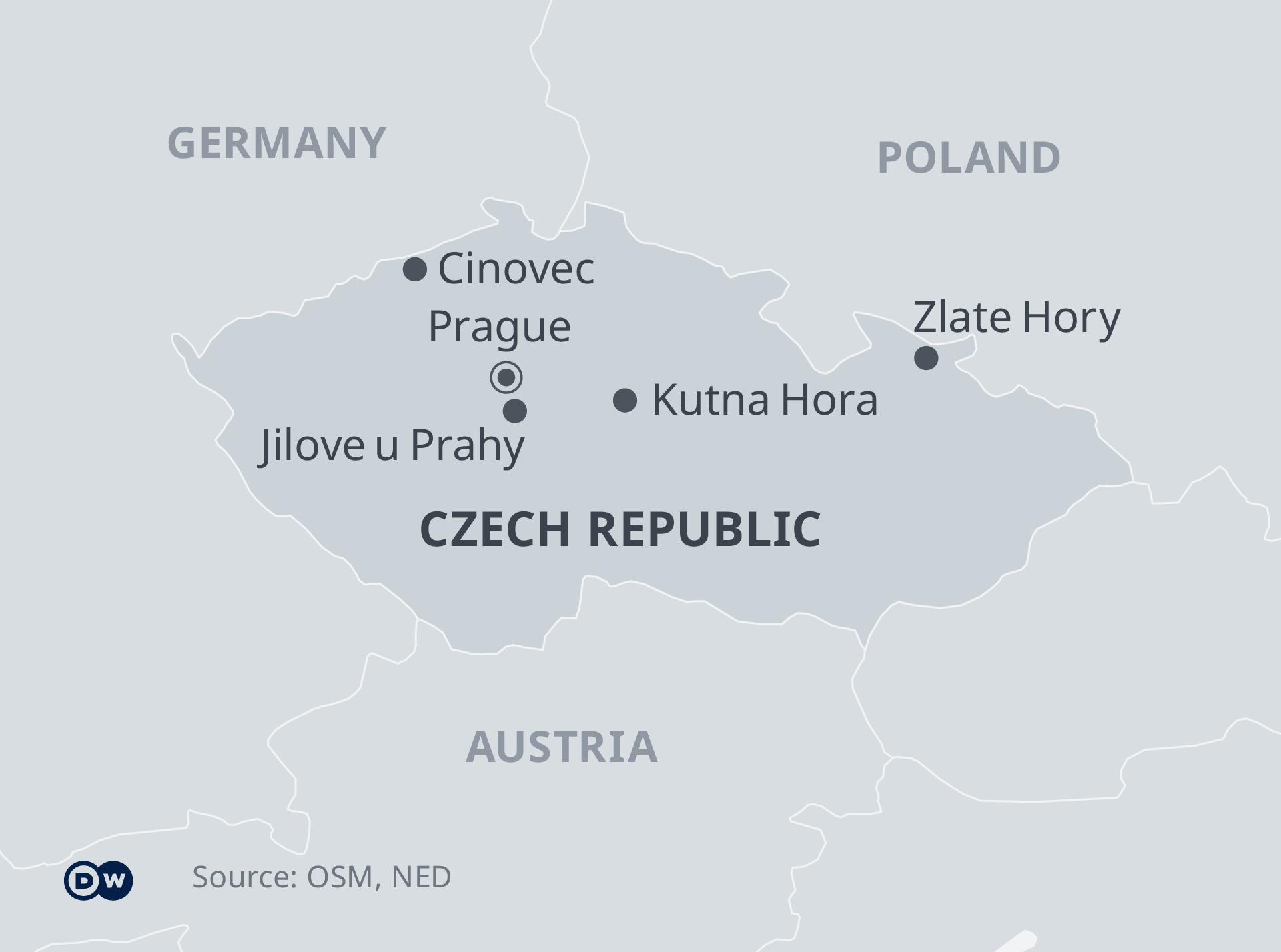 Je uvedena mapa České republiky s klíčovými místy