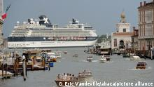 File photo dated August 12, 2017 of a cruise ship making its way through the Giudecca Canal in front of Piazza San Marco, Venice, Italy.Italy has banned cruise ships from the Venice lagoon in what appears to be a definitive move welcomed by anti-cruise ship campaigners. Spurred to act quickly after Unesco threatened to put Venice on its endangered list unless Italy permanently banned cruise ships from docking in the world heritage site, the government said on Tuesday that vessels weighing more than 25,000 tonnes would be barred from the lagoon from 1 August. Photo by Eric Vandeville/ABACAPRESS.COM