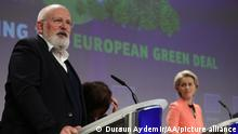 BRUSSELS, BELGIUM - JULY 14: Frans Timmermans, vice president of the European Commission and Ursula von der Leyen, president of the European Commission attend a press conference as the European Union (EU) unveils a landmark climate plan in Brussels, Belgium, on, July 14, 2021. Dursun Aydemir / Anadolu Agency