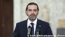 Saad Hariri, designierter Premierminister des Libanon, spricht bei einer Pressekonferenz nach einem Treffen mit dem Präsidenten des Libanon Aoun. +++ dpa-Bildfunk +++