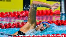 09.04.2019, Russland, Moskau: 5842707 09.04.2019 Veronika Andrusenko competes at the women's 400m freestyle final during the national swimming championships in Moscow, Russia. Alexander Vilf / Sputnik Foto: Alexander Vilf/Sputnik/dpa