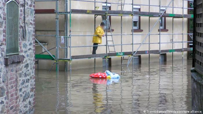 Затопленная улица в городе Золинген