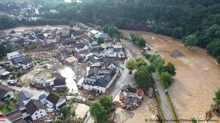 Drone footage shows flooding in Schuld, Germany