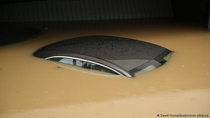 A car flooded almost to the roof