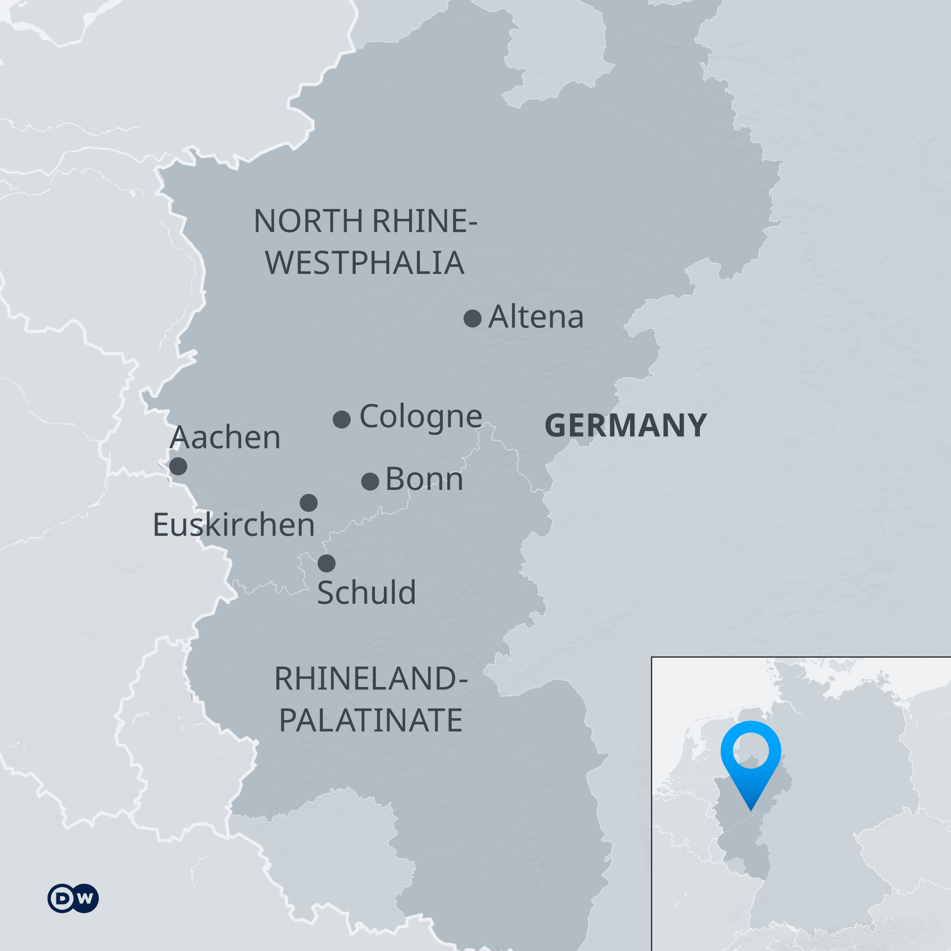 An infographic showing the areas most affected by the floods, in North Rhine-Westphalia and Rhineland-Pfalz