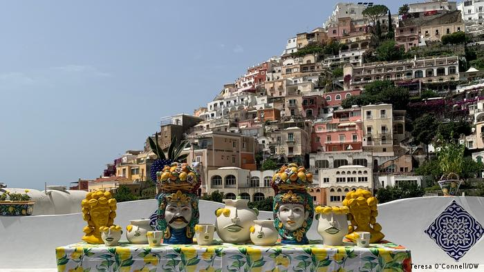 Amalfi Coast, Itlay, Lemon art on display in Positano
