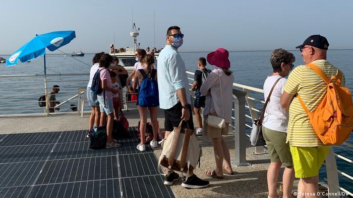 Amalfi coast, people waiting for the ferry to Positano