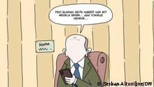 Es wird die Absetzung des Rektors d. Boğaziçi Universität thematisiert. Präsident Erdoğan hatte ihn zum Rektor ernannt, und jetzt ist es wieder Erdoğan der ihn absetzt. DW-Karikatur von Serkan Altuniğne