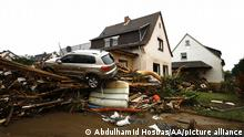 16.07.2021 RHINELAND PALATINATE, GERMANY - JULY 16: A view of flooded area and damage after severe rainstorm and flash floods hit western states of Rhineland-Palatinate and North Rhine-Westphalia, on July 16, 2021, in Ahrweiler district of Rhineland-Palatinate, Germany. The death toll from Germany's worst floods in more than 200 years rose to 81 and some 1,300 people are missing. Search and rescue works continue in the area. Abdulhamid Hosbas / Anadolu Agency