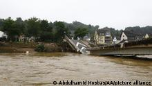 16.07.2021 RHINELAND PALATINATE, GERMANY - JULY 16: A view of flood devastated area after severe rainstorm and flash floods hit western states of Rhineland-Palatinate and North Rhine-Westphalia, on July 16, 2021, in Ahrweiler district of Rhineland-Palatinate, Germany. The death toll from Germany's worst floods in more than 200 years rose to 81 and some 1,300 people are missing. Search and rescue works continue in the area. Abdulhamid Hosbas / Anadolu Agency