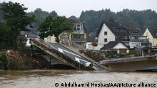 July 16, 2021*** RHINELAND PALATINATE, GERMANY - JULY 16: A view of flood devastated area after severe rainstorm and flash floods hit western states of Rhineland-Palatinate and North Rhine-Westphalia, on July 16, 2021, in Ahrweiler district of Rhineland-Palatinate, Germany. The death toll from Germany's worst floods in more than 200 years rose to 81 and some 1,300 people are missing. Search and rescue works continue in the area. Abdulhamid Hosbas / Anadolu Agency