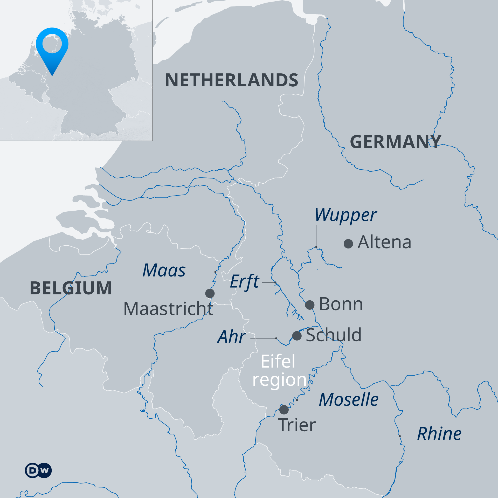 A map showing areas affected by flooding In Belgium, the Netherlands and Germany, including Schuld in the Eifel region