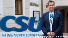 Markus Söder (CSU), Ministerpräsident von Bayern und CSU-Vorsitzender, gibt vor Beginn der Sommerklausur der CSU im Bundestag im Kloster Seeon ein Pressestatement. +++ dpa-Bildfunk +++