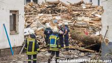 15.07.21 *** Firefighters inspect debris and damaged houses destroyed by the floods in Schuld near Bad Neuenahr, western Germany, on July 15, 2021. - Heavy rains and floods lashing western Europe have killed at least 20 people in Germany and left around 50 missing, as rising waters led several houses to collapse. (Photo by Bernd Lauter / AFP) (Photo by BERND LAUTER/AFP via Getty Images)