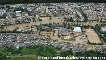 15.07.21 *** Aerial video grab view taken on July 15, 2021 from a video footages shows flooded properties, houses and landscapes after heavy rainfall and floods in Bad Neuenahr - Ahrweiler, western Germany. - Heavy rains and floods lashing western Europe have killed at least 20 people in Germany and left around 50 missing, as rising waters led several houses to collapse. (Photo by Ferdinand MERZBACH / NEWS5 / AFP) (Photo by FERDINAND MERZBACH/NEWS5/AFP via Getty Images)