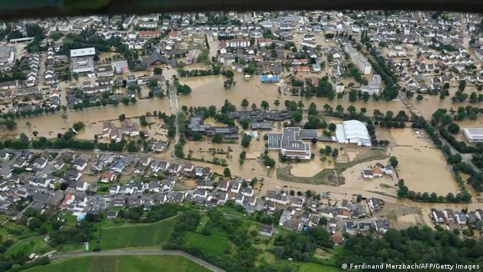 Aerial photo of the flooded city of Ahrweiler, Germany.
