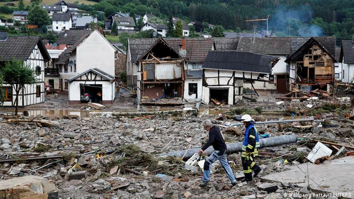 Die nach einem Hochwasserereignis zerstörte Stadt Schuld im Landkreis Ahrweiler in Rheinland-Pfalz