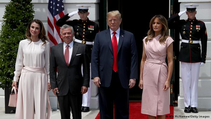 President Donald Trump and First Lady Melania Trump welcome King Abdullah of Jordan and Queen Rania to the White House