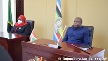 Burundi President Evariste Ndayishimiye receive's her counterpart from Tanzania Samia Suluhu Hassan who is on a two-day official visit in Bujumbura. DW, Bujumbura Amida Issa, 16. Juli 2021