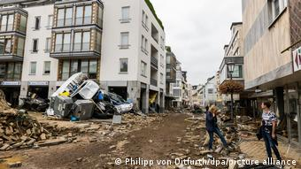 Опустошенный наводнением центр курортного городка Бад-Нойенар в земле Рейнланд-Пфальц