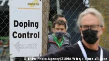 MTB Race - Internazionali d'Italia Series. Nals - Nalles, Italy on April 10, 2021. Doping Control post with a man wearing a mask (Photo by Pierre Teyssot/ESPA-Images)(Credit Image: © ESPA Photo Agency/CSM via ZUMA Wire