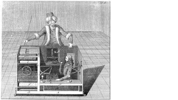 Старинная гравюра: так прятался в автомате шахматист