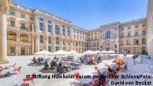 Blick in den Schlüterhof Datum: 17.7.21 Ort: Berlin (c) Stiftung Humboldt Forum im Berliner Schloss / Foto: David von Becker