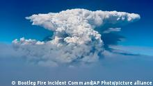 Oregon, July 14, 2021*** In this photo taken with a drone provided by the Bootleg Fire Incident Command, a pyrocumulus cloud, also known as a fire cloud, is seen over the Bootleg Fire in southern Oregon on Wednesday, July 14, 2021. Smoke and heat from a massive wildfire in southeastern Oregon are creating fire clouds over the blaze — dangerous columns of smoke and ash that can reach up to 30,000 feet (9,144 meters) and are visible for more than 100 miles (160 kilometers) away. Authorities have put these clouds at the top of the list of the extreme fire behavior they are seeing on the Bootleg Fire, the largest wildfire burning in the U.S. (Bootleg Fire Incident Command via AP)