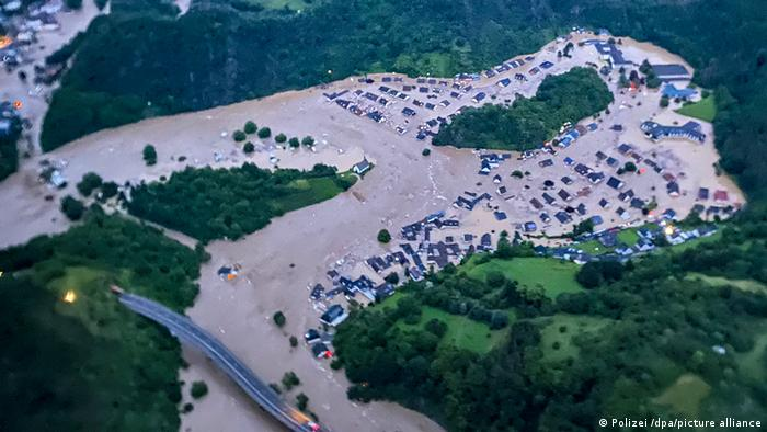Aerial view of Altenahr in Rhineland-Palatinate, showing mass flooding and houses engulfed in water