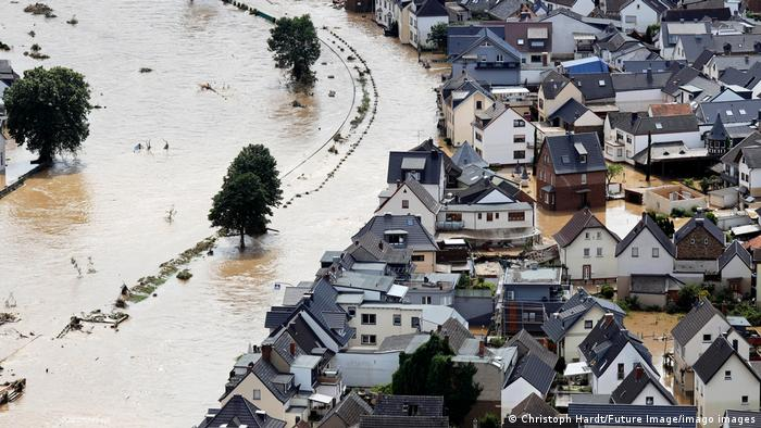 Roads and houses submerged under water in Dernau