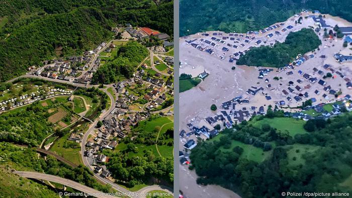 Альтенбург до и во время наводнения