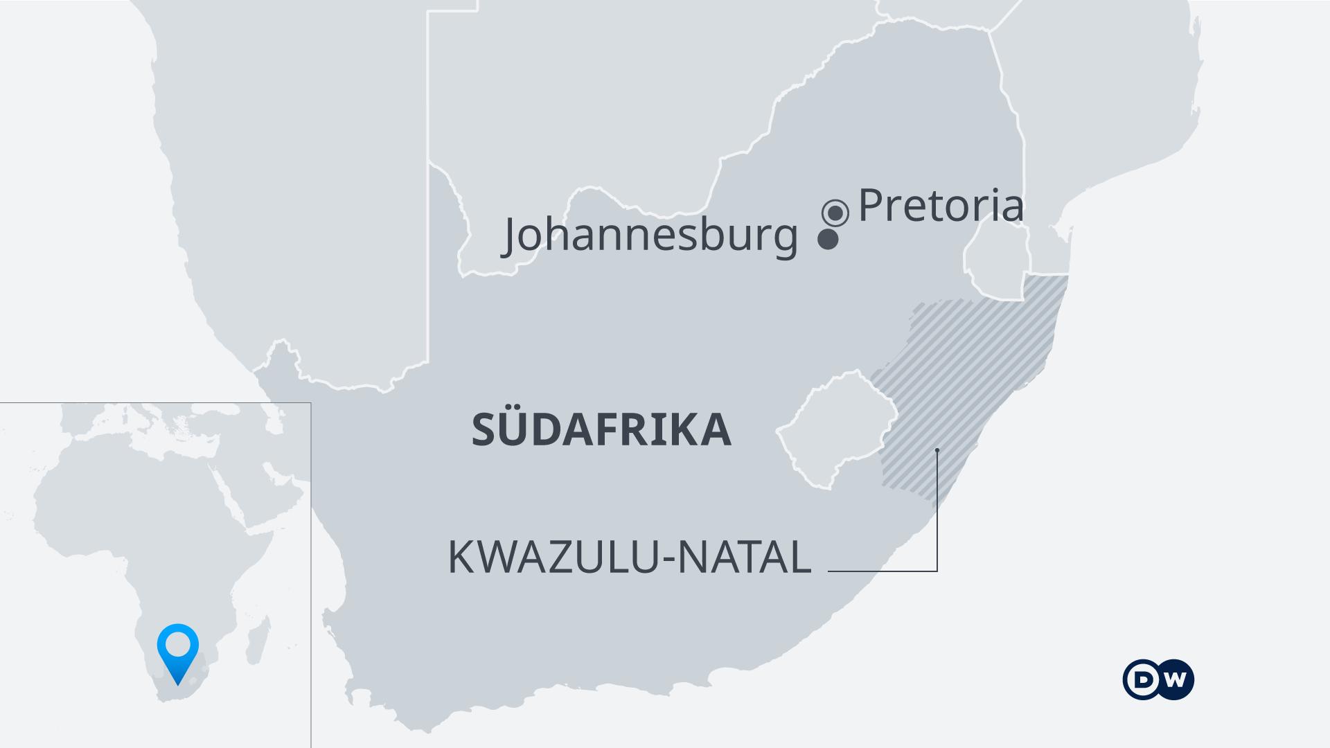 Infografik Karte Südafrika Kazulu-Natal